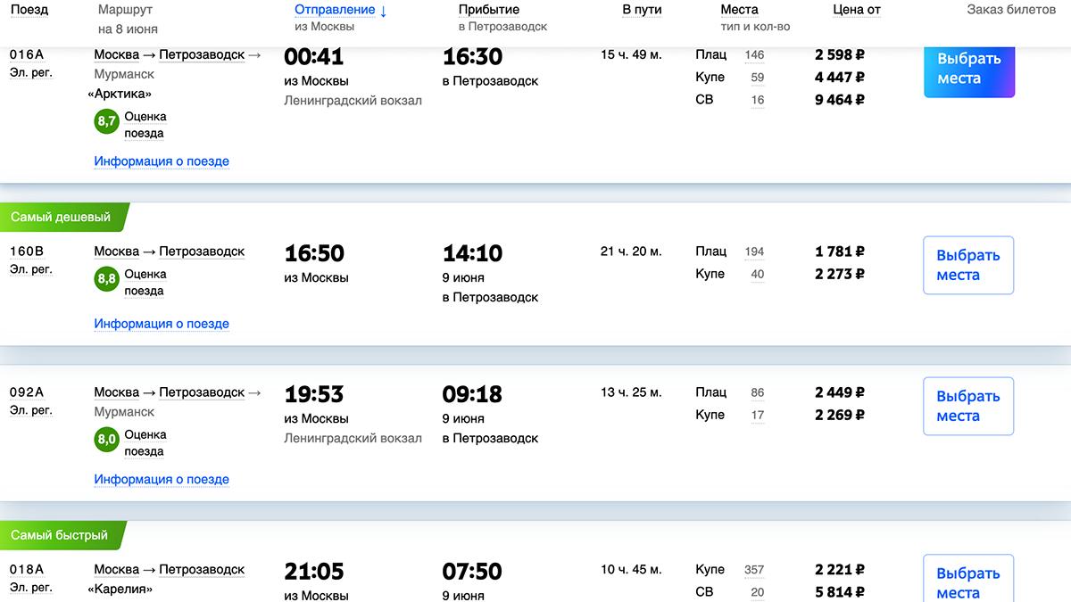 Летом из Москвы каждый день отправляется сразу несколько поездов, можно выбрать удобный по времени и цене.