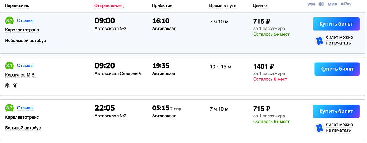Из Санкт-Петербурга и Ленинградской области стоимость автобуса и время в дороге сопоставимо с Ласточкой.