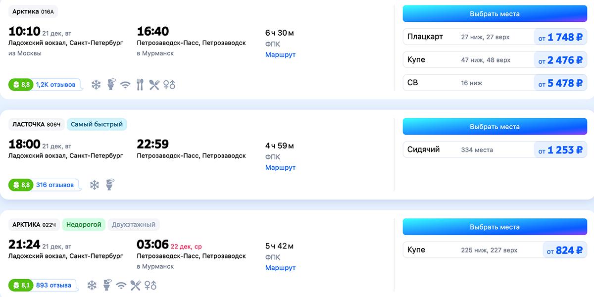 Скриншот частичного расписания и цен Санкт-Петербург — Петрозаводск с сайта Tutu.ru на декабрь 2021 года