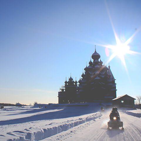 Остров Кижи на снегоходе