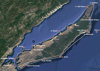 Схема треккинга вокруг Ольхона